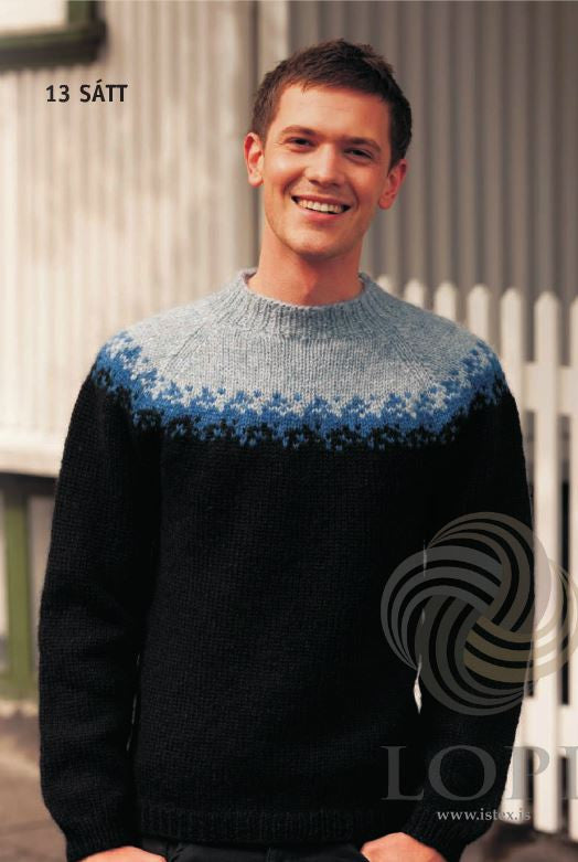 Icelandic sweaters and products - Sátt (Truse) Mens Wool Sweater Black Tailor Made - NordicStore