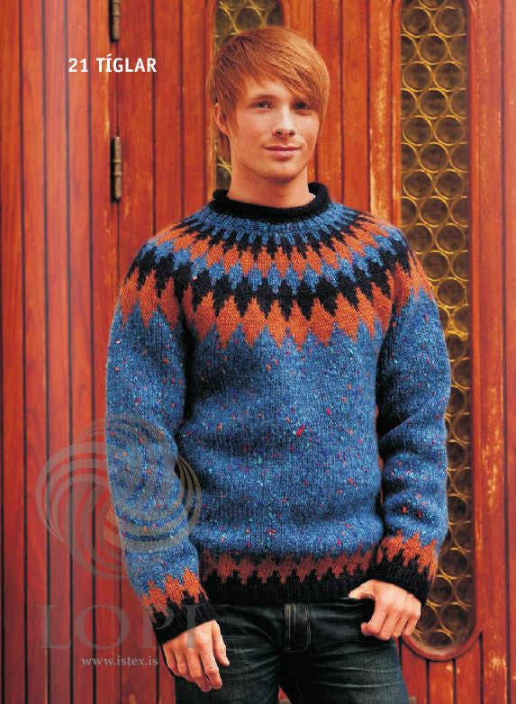 Icelandic sweaters and products - Tíglar (Clubs) Mens Wool Sweater Blue Tailor Made - NordicStore
