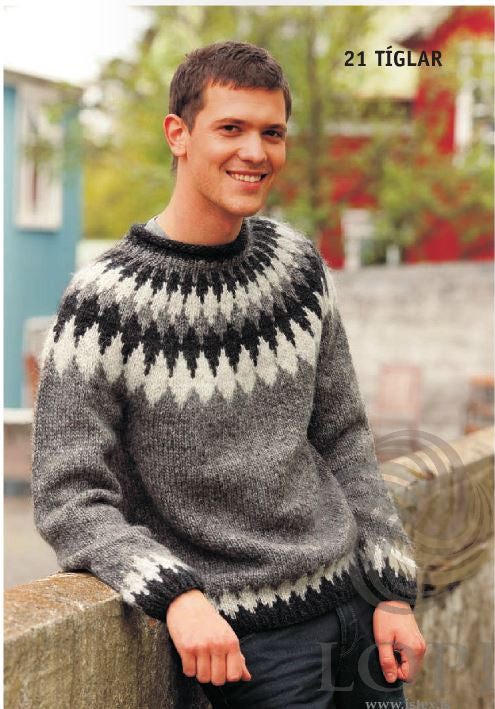 Icelandic sweaters and products - Tíglar (Clubs) Mens Wool Sweater Grey Tailor Made - NordicStore