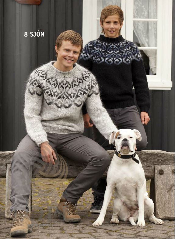 Icelandic sweaters and products - Sjón (Vision) Mens Wool Sweater Grey Tailor Made - NordicStore