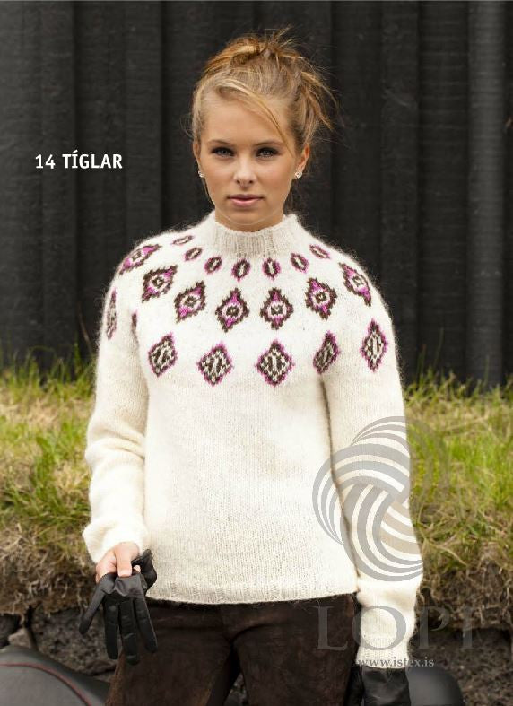 Icelandic sweaters and products - Tíglar (Clubs) Women Wool Sweater White Tailor Made - NordicStore