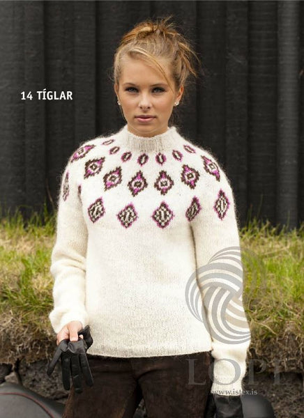 - Icelandic Tíglar (Clubs) Women Wool Sweater White - Tailor Made - Nordic Store Icelandic Wool Sweaters  - 1