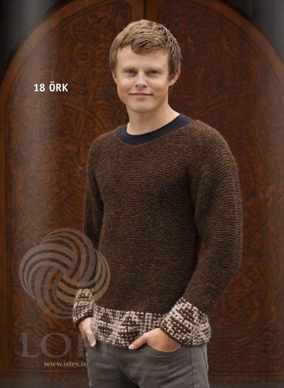 Icelandic sweaters and products - Örk (Ark) Mens Wool Sweater Brown Tailor Made - NordicStore
