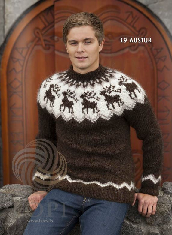 Icelandic sweaters and products - Austur (East) Mens Wool Sweater Brown Tailor Made - NordicStore