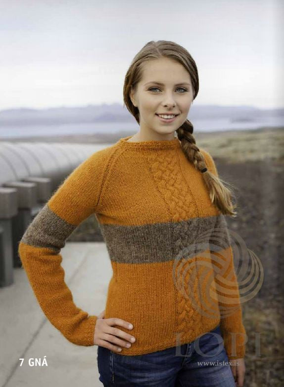 Icelandic sweaters and products - Gná Women Wool Sweater Orange Tailor Made - NordicStore