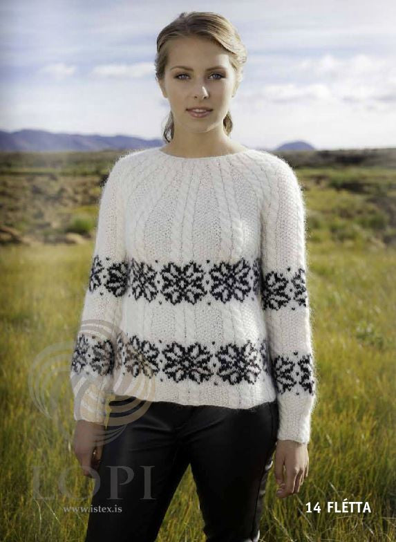 Icelandic sweaters and products - Flétta Women Wool Sweater White Tailor Made - NordicStore