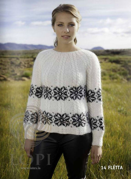 - Icelandic Flétta Women Wool Sweater White - Tailor Made - Nordic Store Icelandic Wool Sweaters  - 1