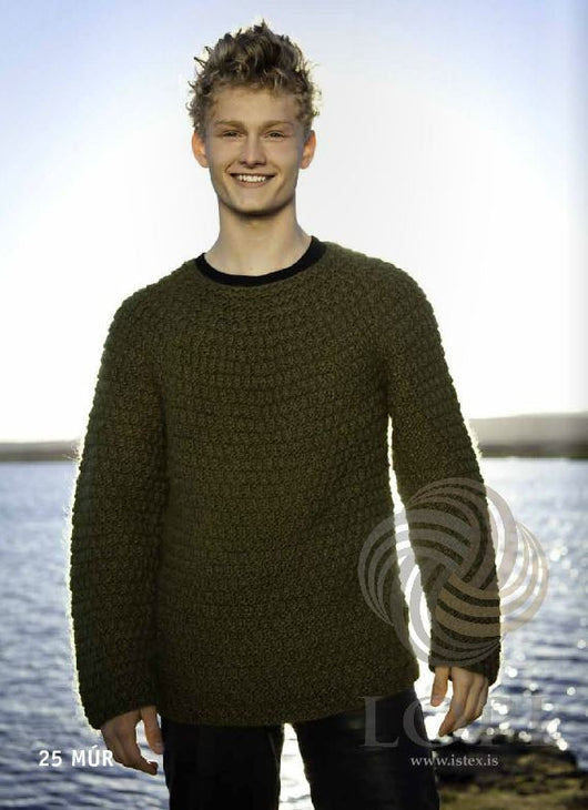 - Icelandic Múr (Brick) Mens Wool Sweater Green - Tailor Made - Nordic Store Icelandic Wool Sweaters  - 1