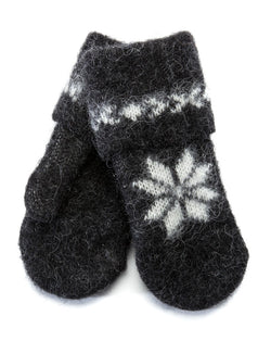 Brushed Wool Mittens Black