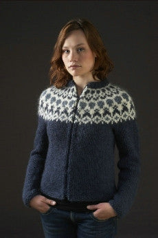 Icelandic sweaters and products - HÉLA Blue Womens Cardigan Kit Wool Knitting Kit - NordicStore