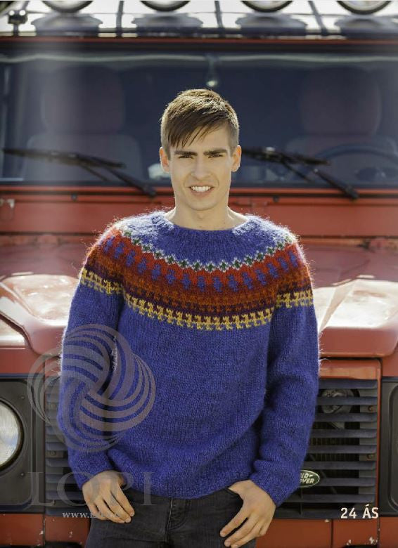Icelandic sweaters and products - Ás (Ace) Mens Wool Sweater Blue Tailor Made - NordicStore