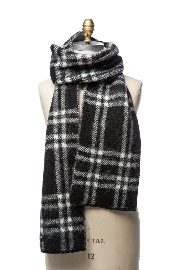 Brushed Wool Scarf - Black & White Checkered