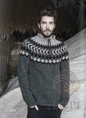 - Icelandic Loki Mens Wool Sweater Grey - Tailor Made - Nordic Store Icelandic Wool Sweaters  - 1
