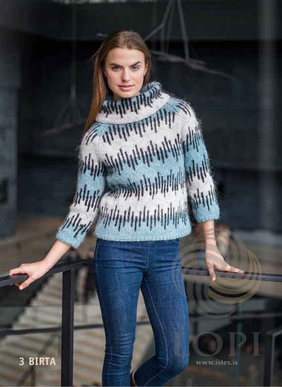 Icelandic sweaters and products - Birta Women Wool Sweater Blue Tailor Made - NordicStore