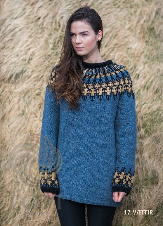 Icelandic sweaters and products - Vættir Women Wool Sweater Blue Tailor Made - NordicStore