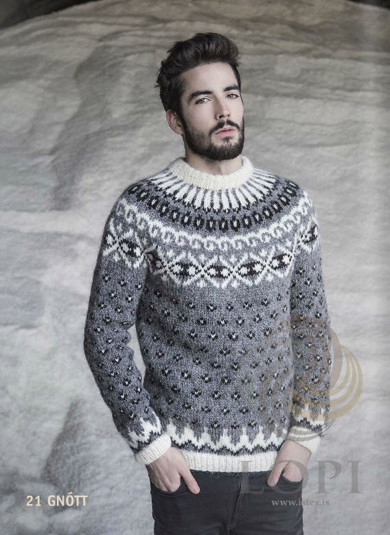 Icelandic sweaters and products - Gnótt Mens Wool Sweater Grey Tailor Made - NordicStore