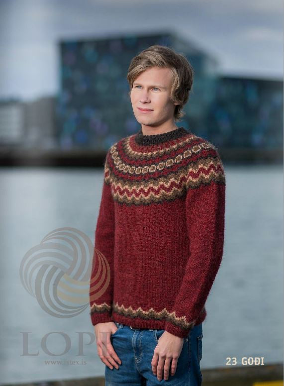 Icelandic sweaters and products - Goði Mens Wool Sweater Red Tailor Made - NordicStore