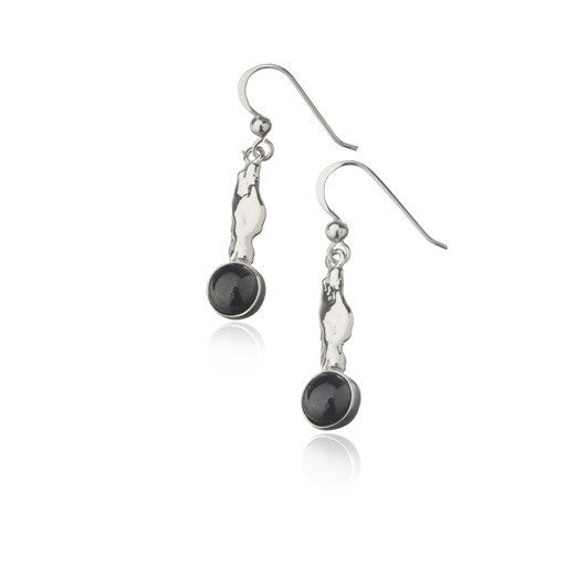 Icelandic sweaters and products - Black lava tear earrings - Long silver Jewelry - NordicStore