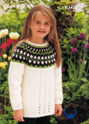 Icelandic sweaters and products - Blaklukka White - knitting kit Wool Knitting Kit - NordicStore