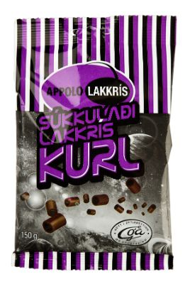 "Icelandic sweaters and products - Appolo Liquorice ""Kurl"" covered with chocolate  (150gr) Candy - NordicStore"