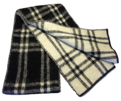 Icelandic sweaters and products - Brushed Wool Scarf - Black & White Checkered Wool Accessories - NordicStore