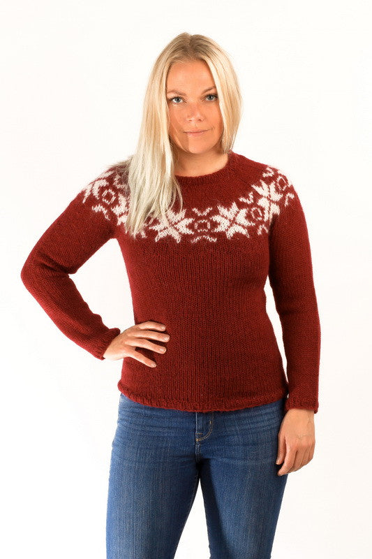 Icelandic sweaters and products - Eykt Wool Pullover Red Wool Sweaters - NordicStore
