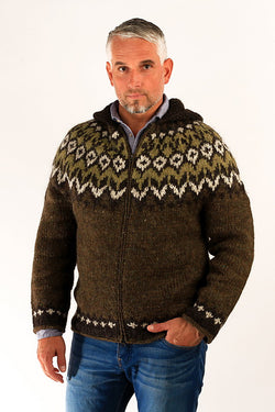 Icelandic sweaters and products - Fisherman Wool Cardigan w/Hood Wool Sweaters - NordicStore