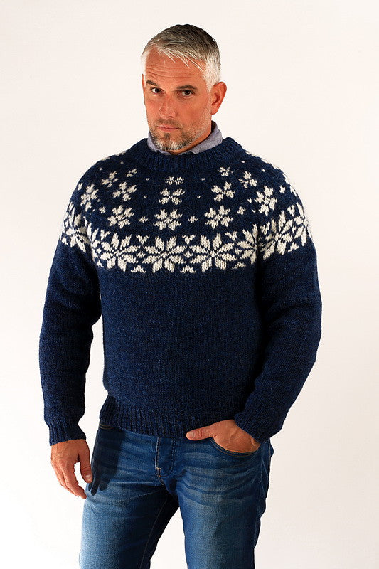 Icelandic sweaters and products - Fönn Wool Sweater Blue Wool Sweaters - NordicStore