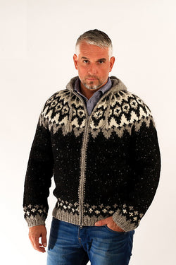 Icelandic sweaters and products - Frost Hooded Wool Cardigan Wool Sweaters - NordicStore