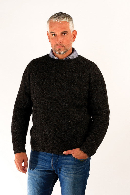 Icelandic sweaters and products - Gudbjartur Wool Sweater Black Wool Sweaters - NordicStore
