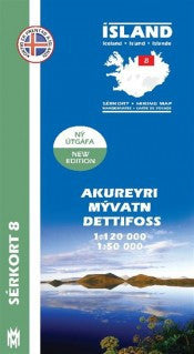 Icelandic sweaters and products - Hiking Map 8 - Akureyri, Mývatn, Dettisfoss - 1:100.000 Maps - NordicStore