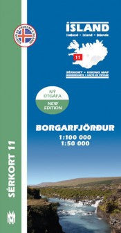 Icelandic sweaters and products - Hiking Map 11 - Borgarfjörður - 1:100.000 Maps - NordicStore