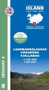 Icelandic sweaters and products - Hiking Map 4 - Landmannalaugar, Þórsmörk, Fjallabak - 1:100.000 Maps - NordicStore