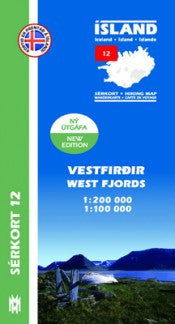 Icelandic sweaters and products - Hiking Map 12 - West Fjords - 1:100.000 Maps - NordicStore