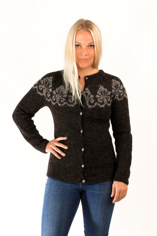 Icelandic sweaters and products - Hruni Wool Cardigan Black Wool Sweaters - NordicStore