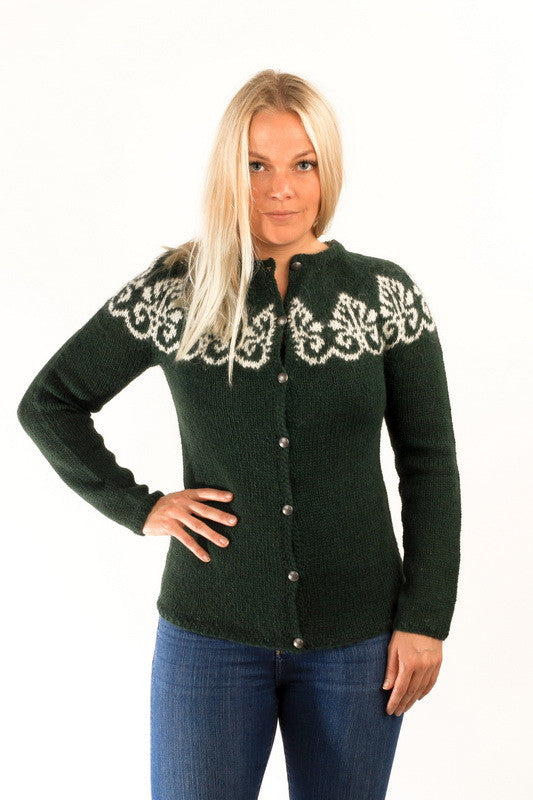 Icelandic sweaters and products - Hruni Wool Cardigan Green Wool Sweaters - NordicStore
