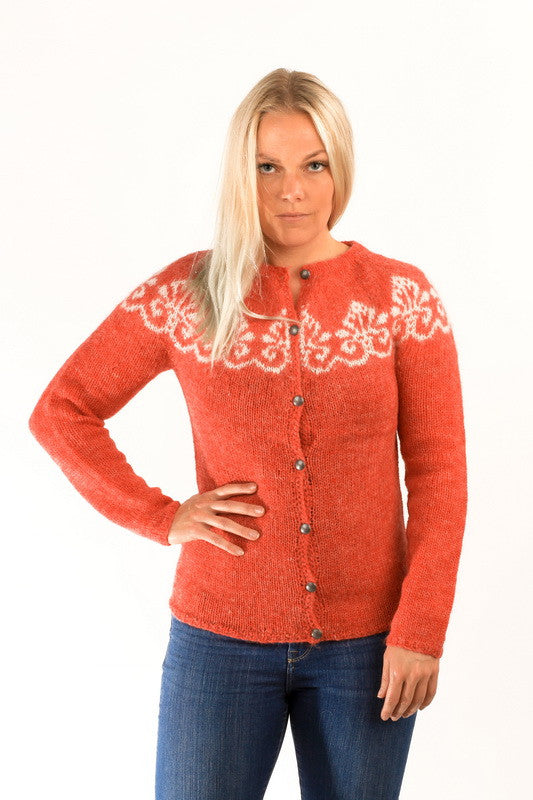 Icelandic sweaters and products - Hruni Wool Cardigan Red Wool Sweaters - NordicStore