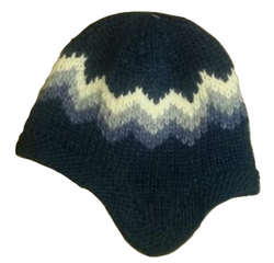 Wool Hat with Earflaps - Blue