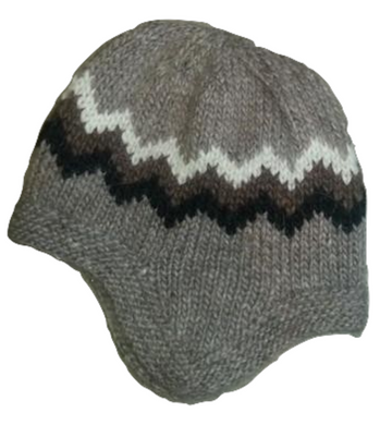 Wool Hat with Earflaps - Brown