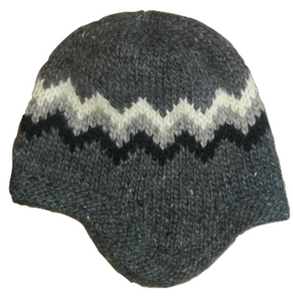 Wool Hat with Earflaps - Grey