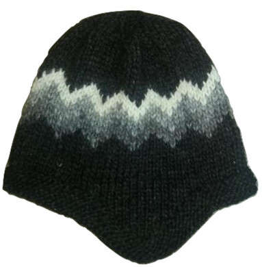 Wool Hat with Earflaps - Black