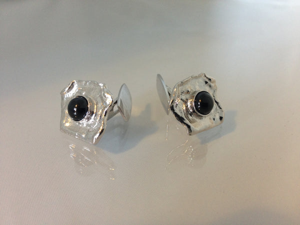 Icelandic sweaters and products - Black lava pearl cufflinks - S Jewelry - NordicStore