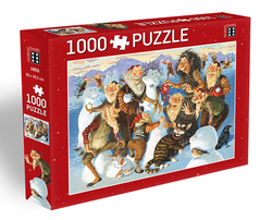Icelandic sweaters and products - Yule Lads Snowman Competition - Jigsaw Puzzle (1000pcs) Puzzle - NordicStore