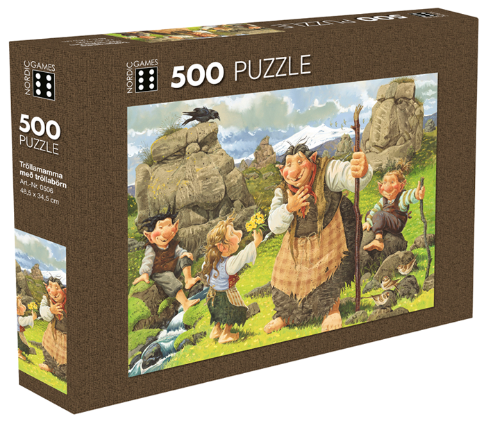 Icelandic sweaters and products - Troll mother with children - Jigsaw Puzzle (500pcs) Puzzle - NordicStore