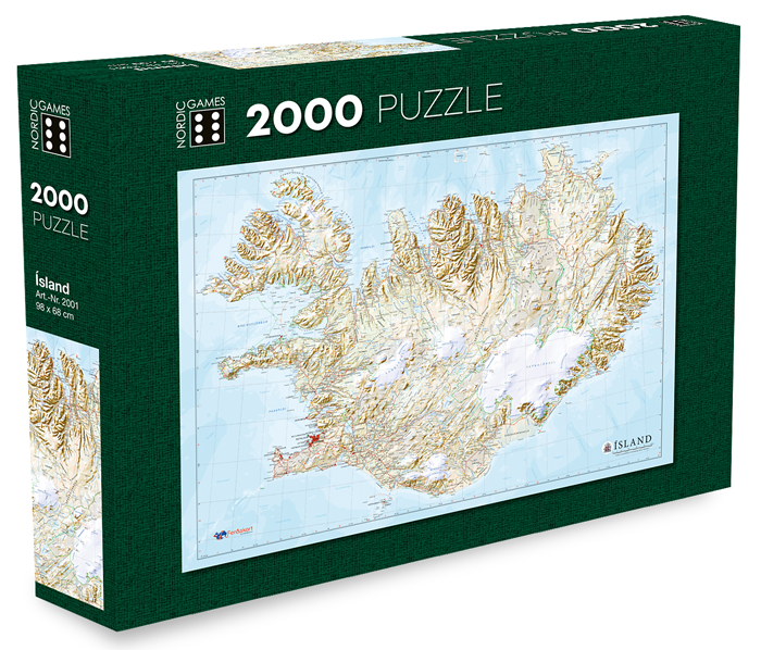 Icelandic sweaters and products - Map of Iceland - Jigsaw Puzzle (2000pcs) Puzzle - NordicStore