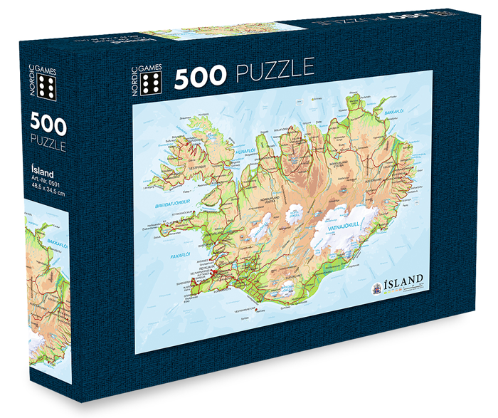 Icelandic sweaters and products - Map of Iceland - Jigsaw Puzzle (500pcs) Puzzle - NordicStore