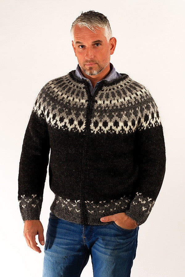 Icelandic sweaters and products - Skipper Wool Cardigan Black Wool Sweaters - NordicStore