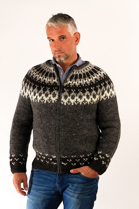 Icelandic sweaters and products - Skipper Wool Cardigan Grey Wool Sweaters - NordicStore
