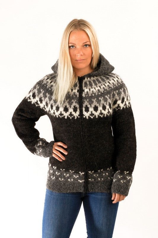 Icelandic sweaters and products - Skipper Wool Cardigan w/Hood Black Wool Sweaters - NordicStore
