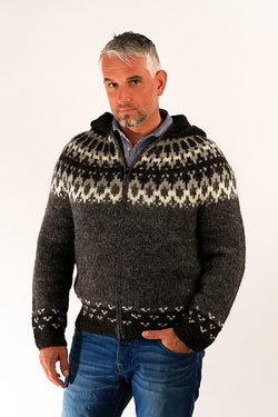 Icelandic sweaters and products - Skipper Wool Cardigan w/Hood Grey Wool Sweaters - NordicStore